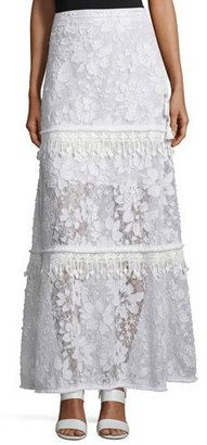 Elie Tahari Tayla Tiered Floral Lace Skirt, Optic White $448 thestylecure.com