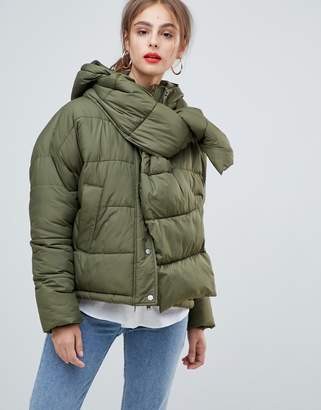 Vero Moda Hooded Padded Jacket With Scarf