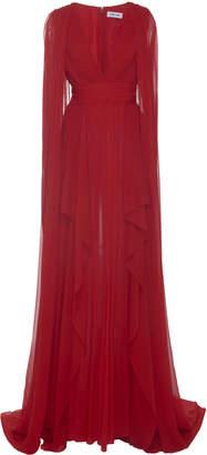 Pamella Roland Ruffled Silk Gown
