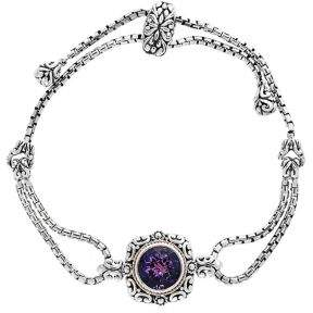 Effy Amethyst, Sterling Silver and Goldplated Bolo Bracelet