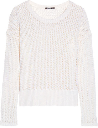 James Perse - Open-knit Cotton And Linen-blend Sweater - White $295 thestylecure.com