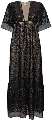 Stella McCartney Animalier leopard sheer silk maxi dress