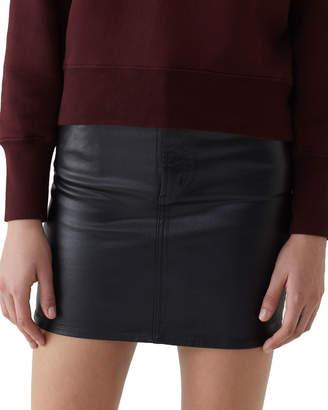 A Gold E Agolde Lydia 5-Pocket Mini Skirt with Leatherette Coating