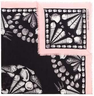 Alexander McQueen black and pink Deep Sea Skull print wool blend scarf