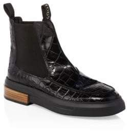 Tod's Croc-Embossed Leather Chelsea Boots