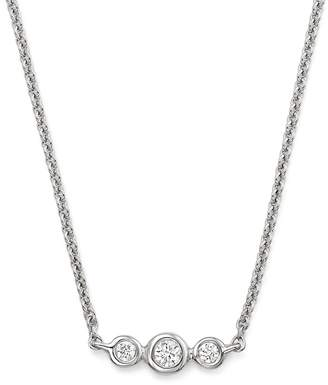 KC Designs 14K White Gold Triple Diamond Necklace, 16