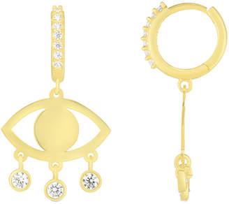 Sphera Milano 18K Gold Over Silver Cz Evil Eye Earrings