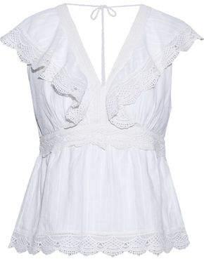 Love Sam Guipure Lace-Paneled Ruffled Cotton Top