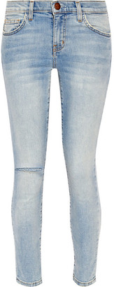 Current/Elliott - The High Waist Stiletto Distressed Skinny Jeans - Light denim $210 thestylecure.com
