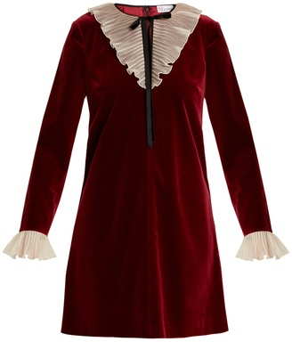 REDVALENTINO Tie-neck ruffled velvet mini dress $551 thestylecure.com