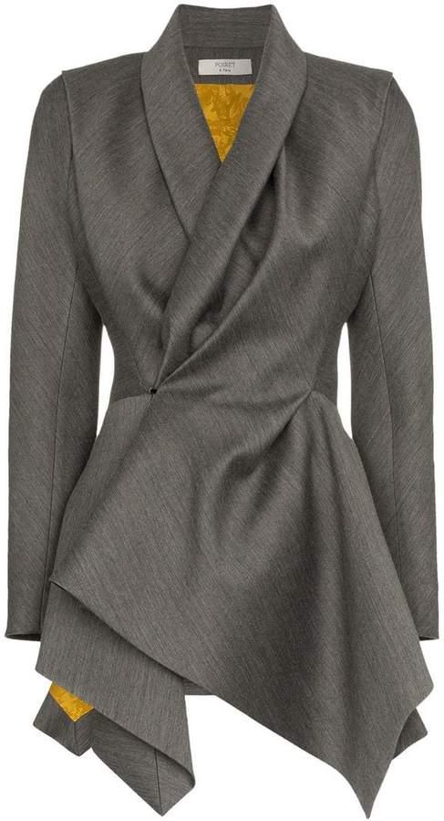 Poiret shawl collar asymmetric virgin wool silk blend jacket