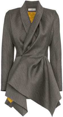 Poiret shawl collar asymmetric virgin wool silk blend jacket