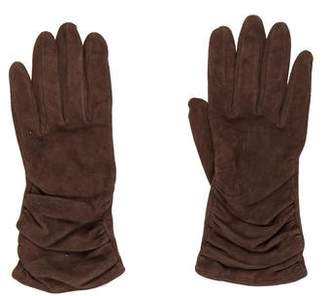 Neiman Marcus Suede Ruched Gloves