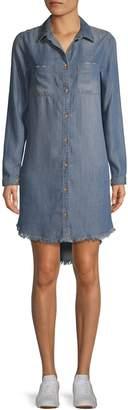C&C California Fringe-Hem High-Low Denim Shirtdress
