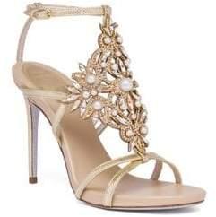Rene Caovilla Embellished Metallic Snakeskin Sandals