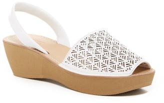 Kenneth Cole Reaction Fine Glass Laser-Cut Platform Sandal $49 thestylecure.com