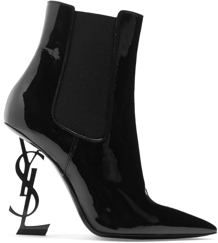 SAINT LAURENT Opyum logo-heel patent-leather ankle boots