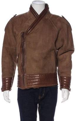 Gianni Versace Suede Sherpa-Lined Jacket