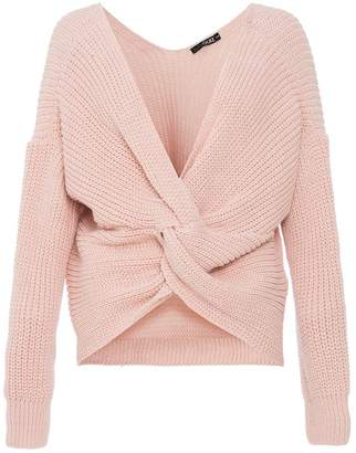 Quiz Pink Knitted Knot Front Long Sleeve Jumper