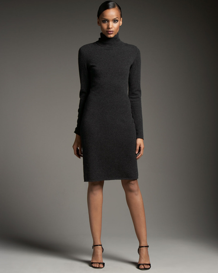 Magaschoni Long Sleeve Turtleneck Dress