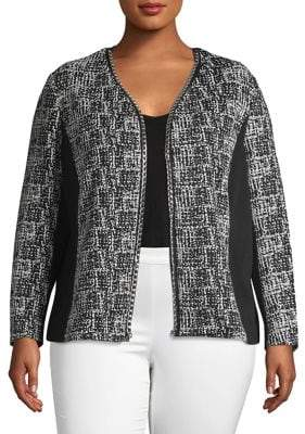 Rafaella Plus Printed Open-Front Jacket
