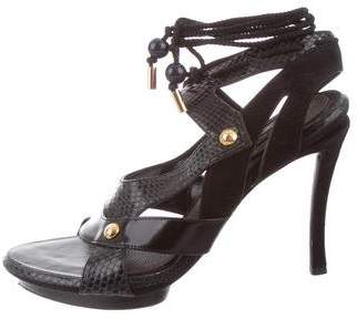 Louis Vuitton Snakeskin-Trimmed Platform Sandals