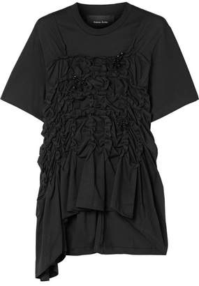 Simone Rocha Embellished Ruched Cotton-jersey Top - Black