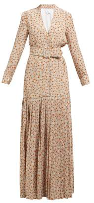 Rebecca De Ravenel Daisy Print Belted Pleated Silk Dress - Womens - Beige Multi