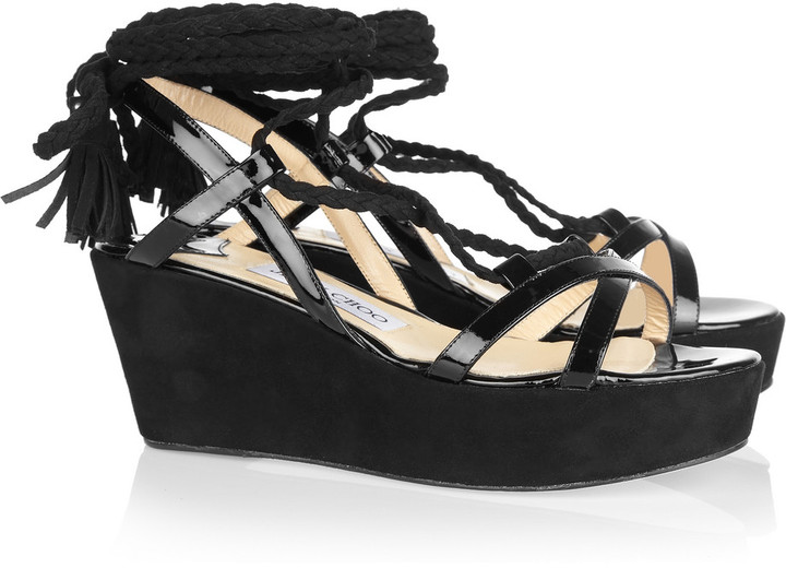 Jimmy Choo Poppy suede and patent-leather wedge sandals