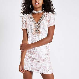 River Island Pink sequin choker neck swing dress