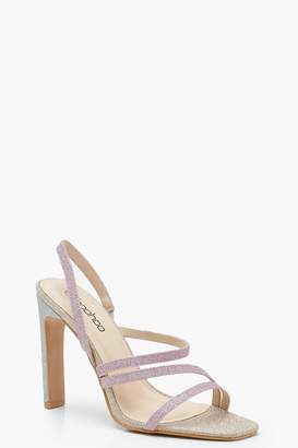 boohoo Glitter Asymmetric Flat Heel Sandals
