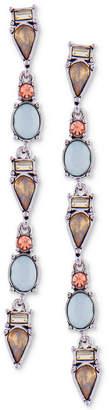 GUESS Silver-Tone Multi-Stone Linear Drop Earrings