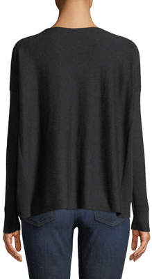 Lilla P Long-Sleeve Ribbed-Side Boat Neck Easy Top