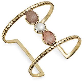 Lucky Brand Nouveau Americana Faux Pearl Bar Cuff Bracelet