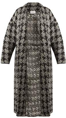 Gabriela Hearst Laurianna Houndstooth Wool Blend Cardigan - Womens - Black White
