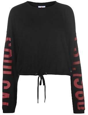 Soul Cal SoulCal Womens Drawstring Top Crew Neck Cropped Shirt Long Sleeve Print