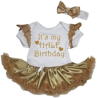 Petitebella It's My Half Birthday White Ruffle Lace Bodysuit Tutu Nb-18m (6-12 Months)
