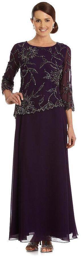 J Kara Beaded Chiffon Gown