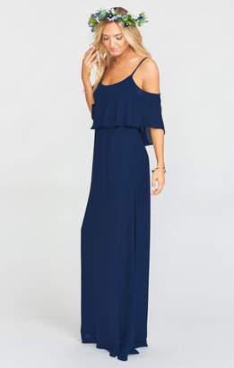 Show Me Your Mumu Caitlin Ruffle Maxi Dress ~ Rich Navy Crisp