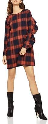BCBGeneration Ruffled Plaid Shift Dress