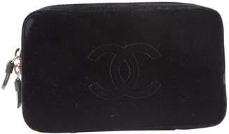 Chanel Black Velvet Clutch Bag