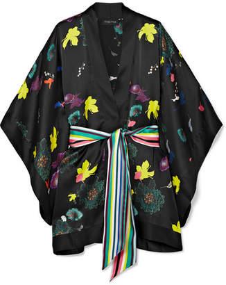 MENG - Printed Silk-satin Kimono - Black