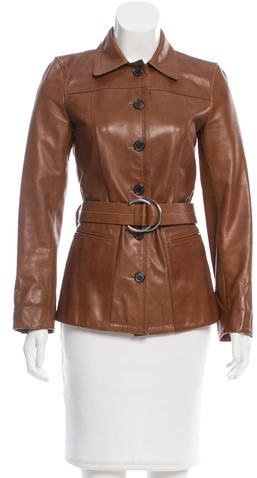 prada Prada Belted Leather Jacket