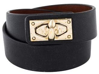 Givenchy Shark Lock Leather Wrap Bracelet