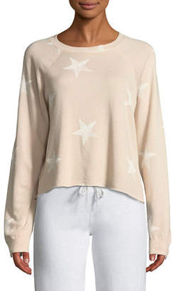 Monrow Star-Print Crewneck Raglan Cutoff Sweatshirt