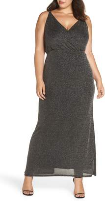 Vince Camuto Metallic Draped Bodice Gown