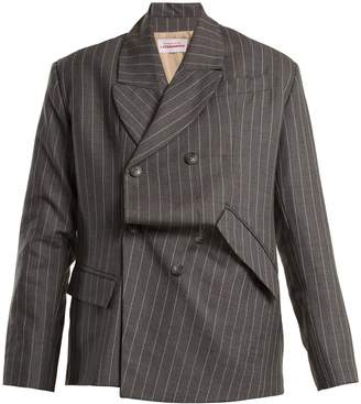 CHARLES JEFFREY LOVERBOY Distressed double-breasted pinstripe wool blazer