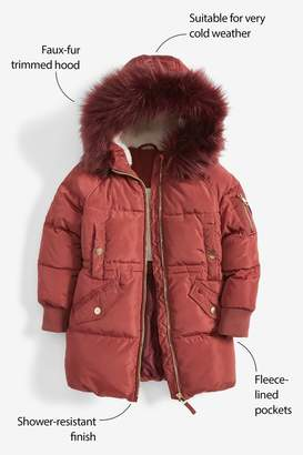 Next Girls Ginger Shower Resistant Padded Parka (3-16yrs) - Orange