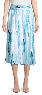 Joan Vass Ocean Print Smocked Waistband Skirt