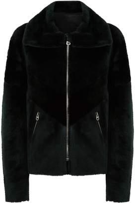 Sandro Collared Shearling Jacket